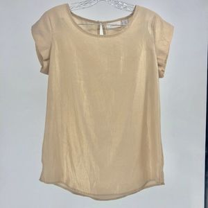 Chico's Top Women Size Small Beige Metallic Gold S